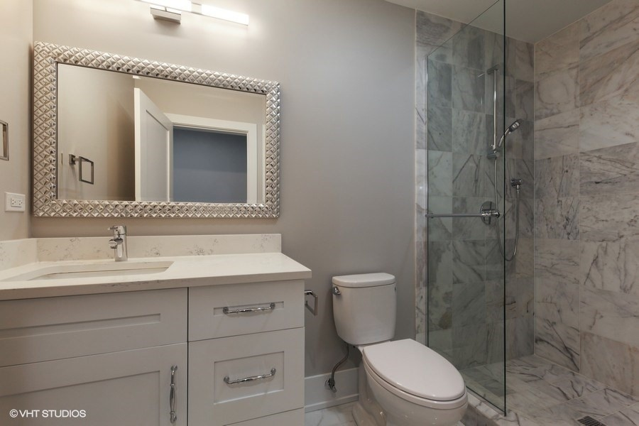 Real Estate Photography - 711 Juniper Rd, Glenview, IL, 60026 - Lower Level Bathroom