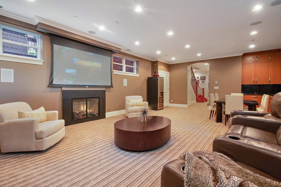 Real Estate Photography - 1225 W. Belden Ave., Chicago, IL, 60614 - Lower level rec room / media room