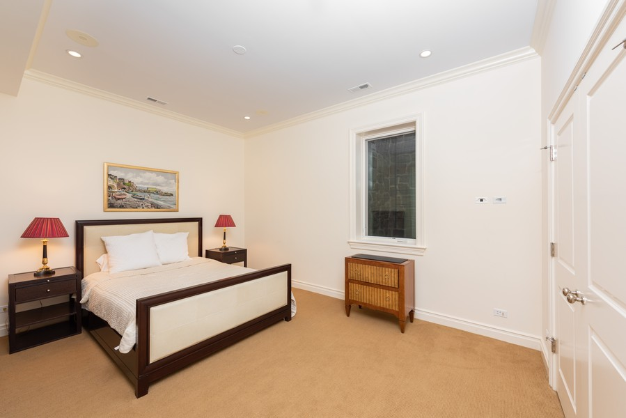 Real Estate Photography - 174 Beach Road, Glencoe, IL, 60022 - Lower Level Bedroom