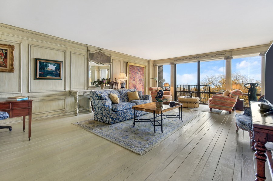 Real Estate Photography - 1040 Lake Shore Drive, Unit 5B, Chicago, IL, 60611 - Living Room/Grand Salon