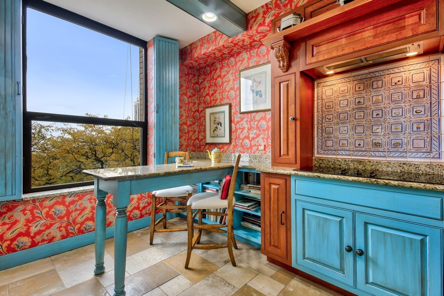 Real Estate Photography - 1040 Lake Shore Drive, Unit 5B, Chicago, IL, 60611 - East Facing Breakfast Bar