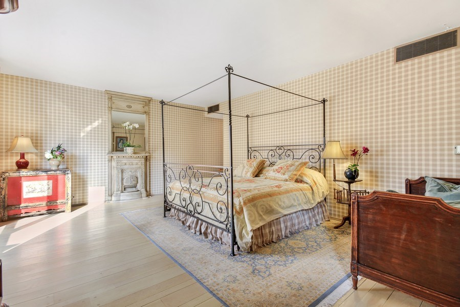 Real Estate Photography - 1040 Lake Shore Drive, Unit 5B, Chicago, IL, 60611 - Master Bedroom Suite /Fireplace