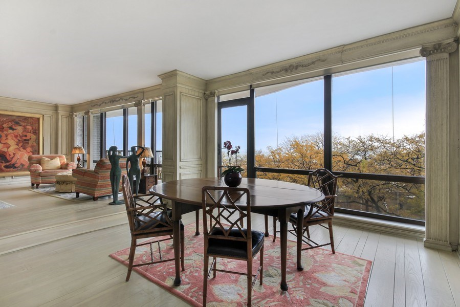 Real Estate Photography - 1040 Lake Shore Drive, Unit 5B, Chicago, IL, 60611 - Living Room / Dining Room