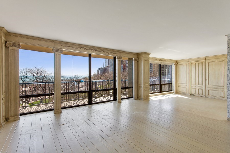 Real Estate Photography - 1040 Lake Shore Drive, Unit 5B, Chicago, IL, 60611 - Living Room/Dining Room