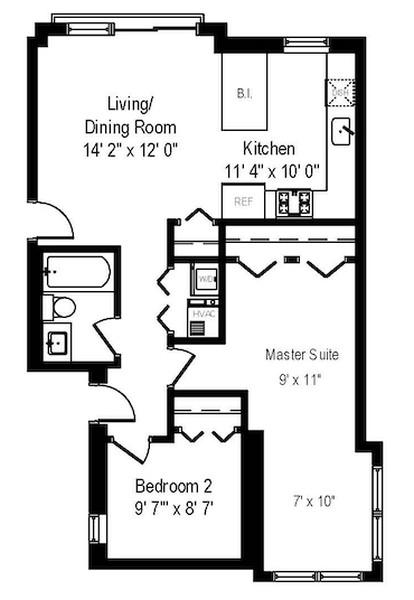 Real Estate Photography - 1849 W Newport, 2, Chicago, IL, 60657 - Floorplan