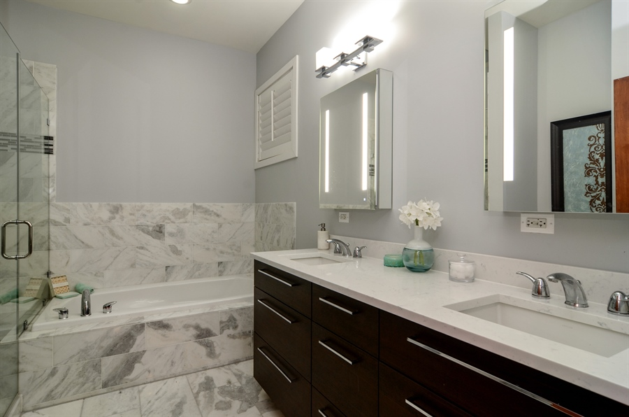 Real Estate Photography - 2312 W Wabansia Ave, Unit 1, Chicago, IL, 60647 - Master Bathroom