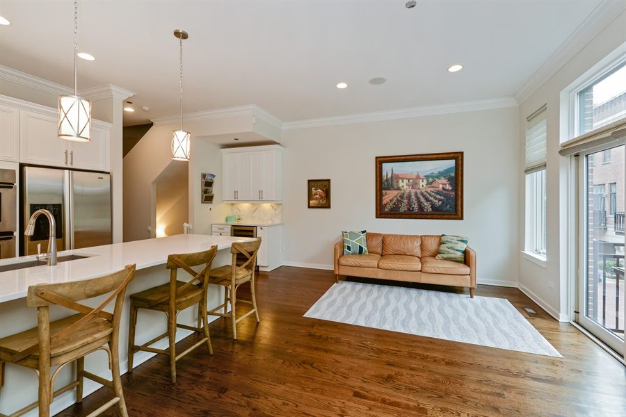 Real Estate Photography - 2900 N Paulina, Chicago, IL, 60657 - Family Room / Kitchen