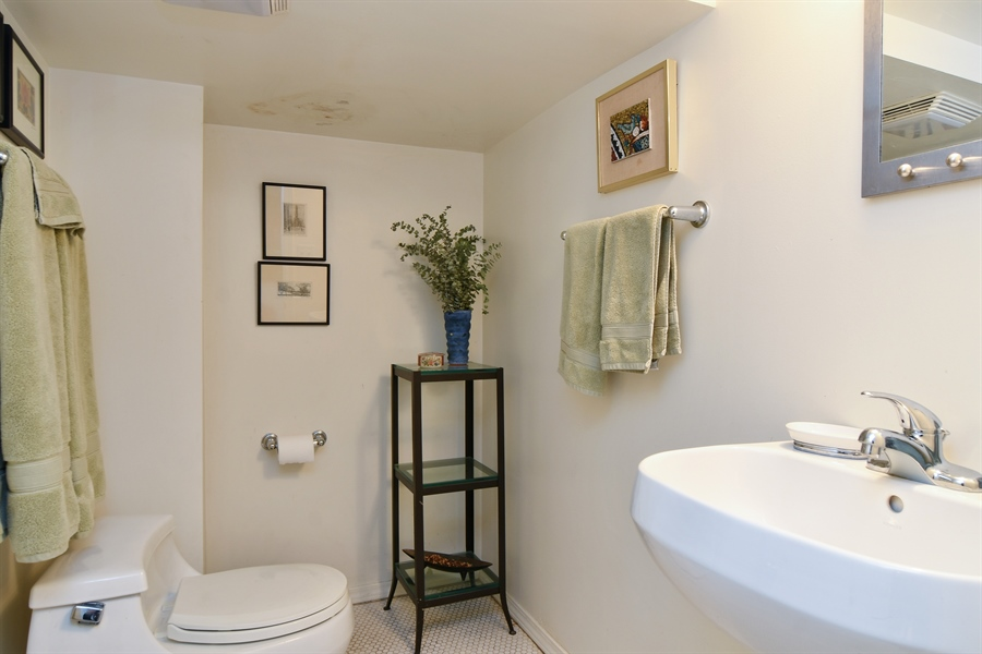 Real Estate Photography - 3625 N. Paulina, Chicago, IL, 60613 - Full bath with separate shower on lower level