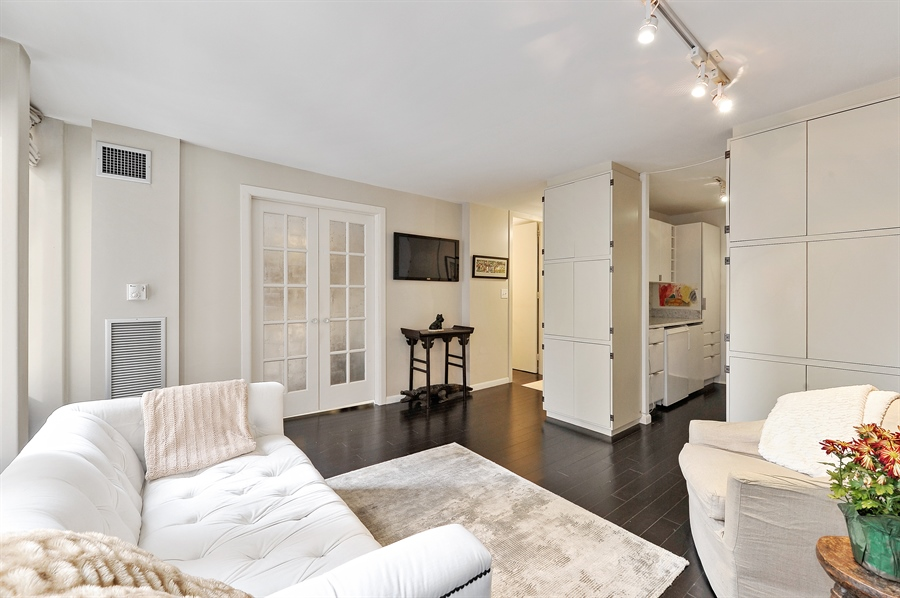 Real Estate Photography - 100 E Walton, #17C, Chicago, IL, 60611 - Kitchen / Living Room