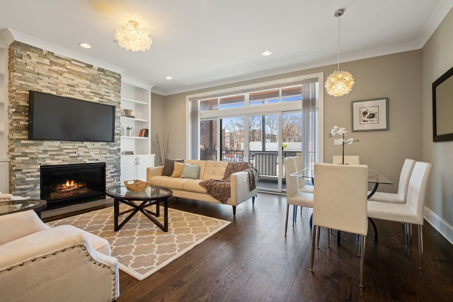 Real Estate Photography - 5061 N. Lincoln Avenue, 1S, Chicago, IL, 60625 - Living Room / Dining Room
