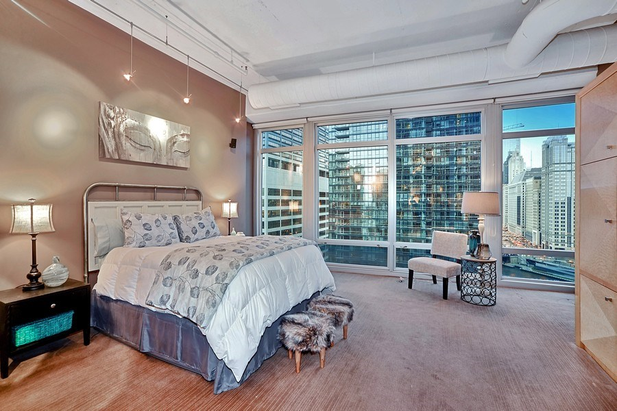 Real Estate Photography - 333 N. Canal, 1804, Chicago, IL, 60606 - Master Bedroom