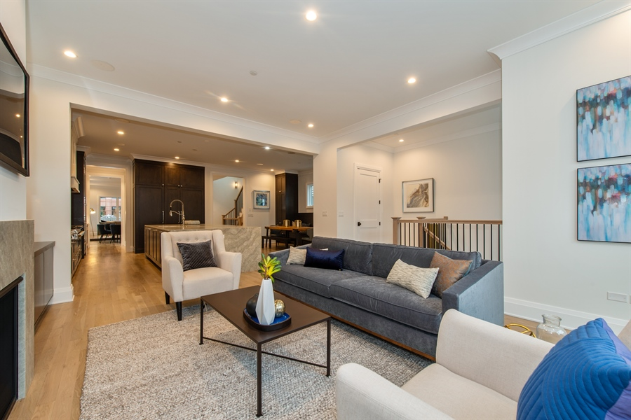 Real Estate Photography - 2615 N Bosworth Ave, Chicago, IL, 60614 - Family Room / Kitchen