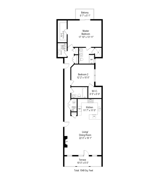 Real Estate Photography - 1502 N. Sedgwick, 5N, Chicago, IL, 60610 - Floor Plan