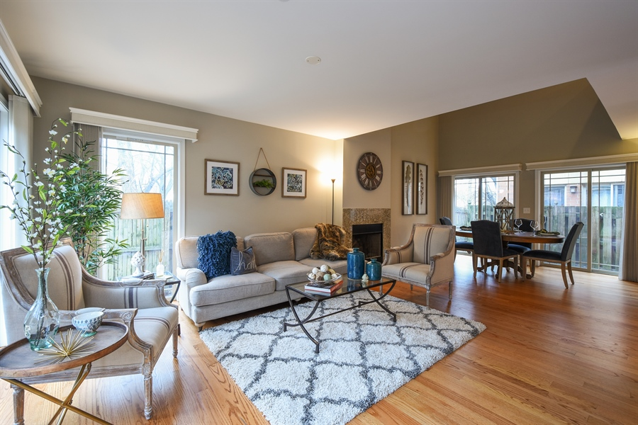 Real Estate Photography - 132 Finstad, Libertyville, IL, 60048 - Living Room / Dining Room
