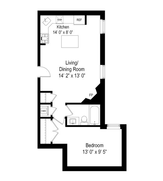 Real Estate Photography - 1636 W. Melrose St., 204, Chicago, IL, 60657 - Floor Plan