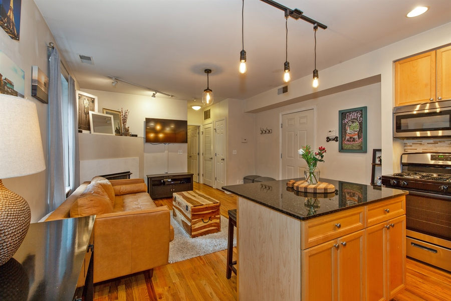 Real Estate Photography - 1636 W. Melrose St., 204, Chicago, IL, 60657 - Kitchen / Living Room