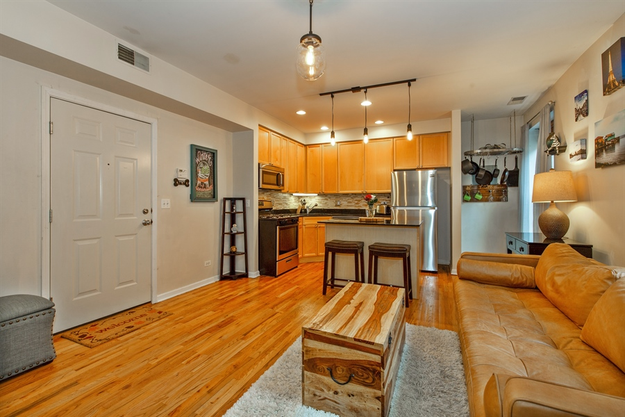 Real Estate Photography - 1636 W. Melrose St., 204, Chicago, IL, 60657 - Kitchen/Living