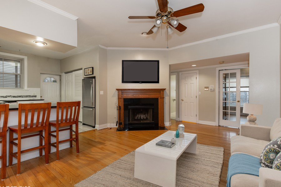 Real Estate Photography - 652 Aldine, #2, Chicago, IL, 60657 - Living Room w/ Fireplace
