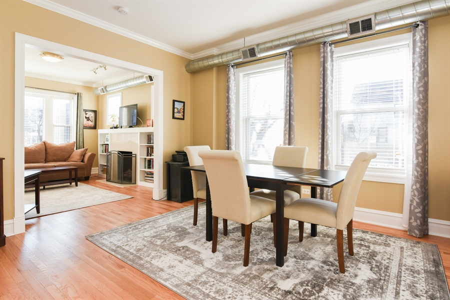Real Estate Photography - 1606 W Carmen Ave, 1E, Chicago, IL, 60640 - Living Room / Dining Room