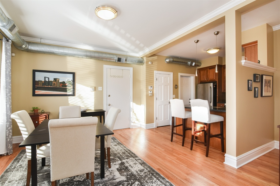 Real Estate Photography - 1606 W Carmen Ave, 1E, Chicago, IL, 60640 - Living Room/Dining Room