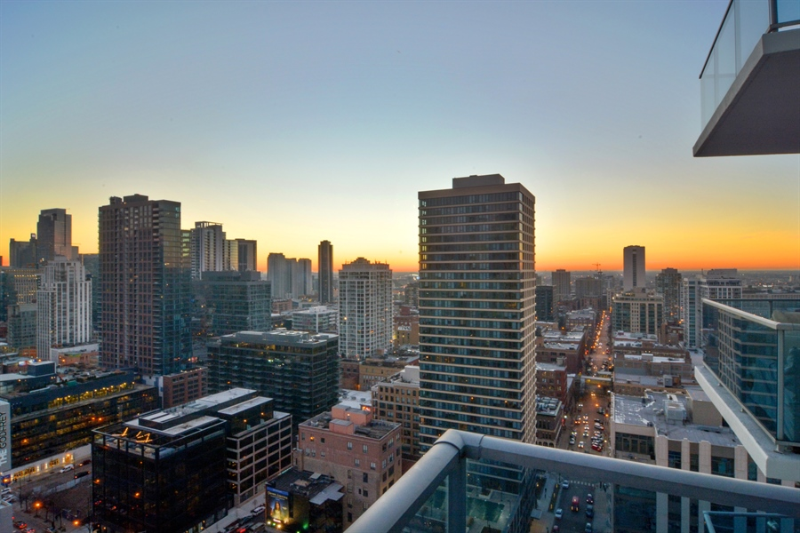 Real Estate Photography - 110 W Superior, 2501, Chicago, IL, 60654 - Balcony sunset