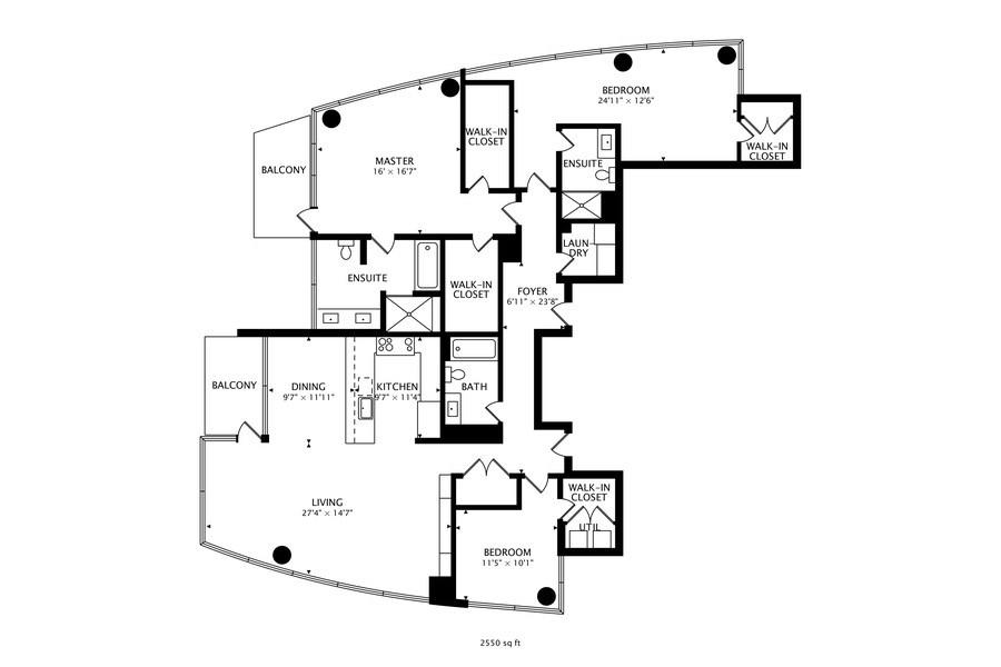 Real Estate Photography - 110 W Superior, 2501, Chicago, IL, 60654 - Floorplan