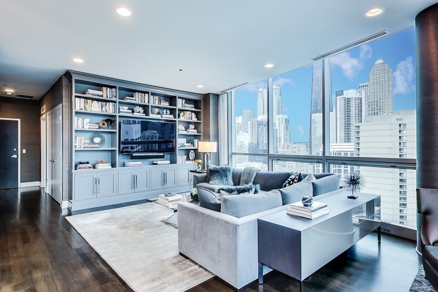Real Estate Photography - 110 W Superior, 2501, Chicago, IL, 60654 - Living Room