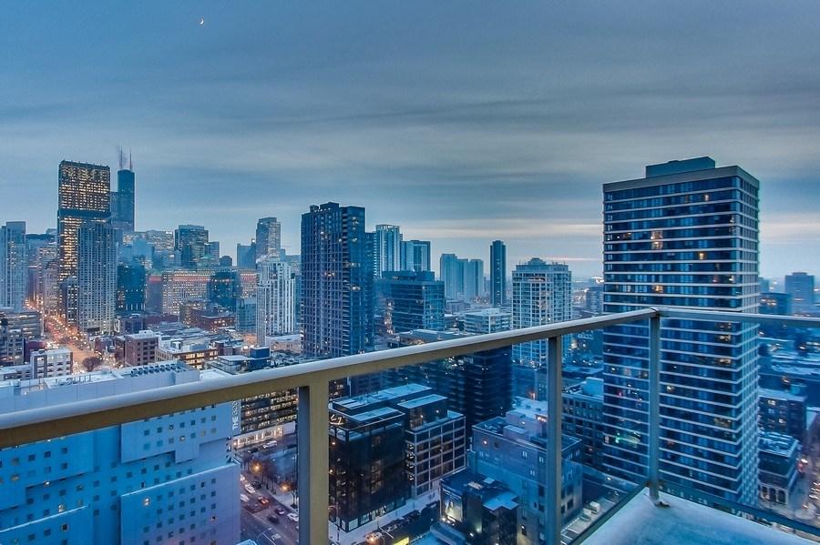 Real Estate Photography - 110 W Superior, 2501, Chicago, IL, 60654 - Balcony