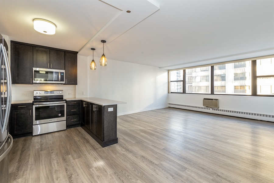 Real Estate Photography - 1445 N State Pkwy, 1103, Chicago, IL, 60610 - Kitchen / Living Room