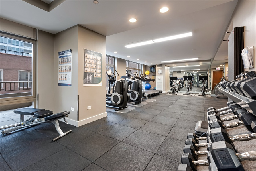 Real Estate Photography - 530 N Lake Shore Drive, Unit 2500, Chicago, IL, 60611 - Gym