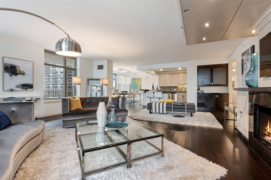 Real Estate Photography - 530 N Lake Shore Drive, Unit 2500, Chicago, IL, 60611 - Living Room