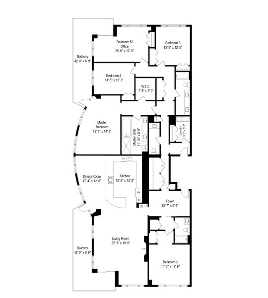 Real Estate Photography - 530 N Lake Shore Drive, Unit 2500, Chicago, IL, 60611 - Floor Plan