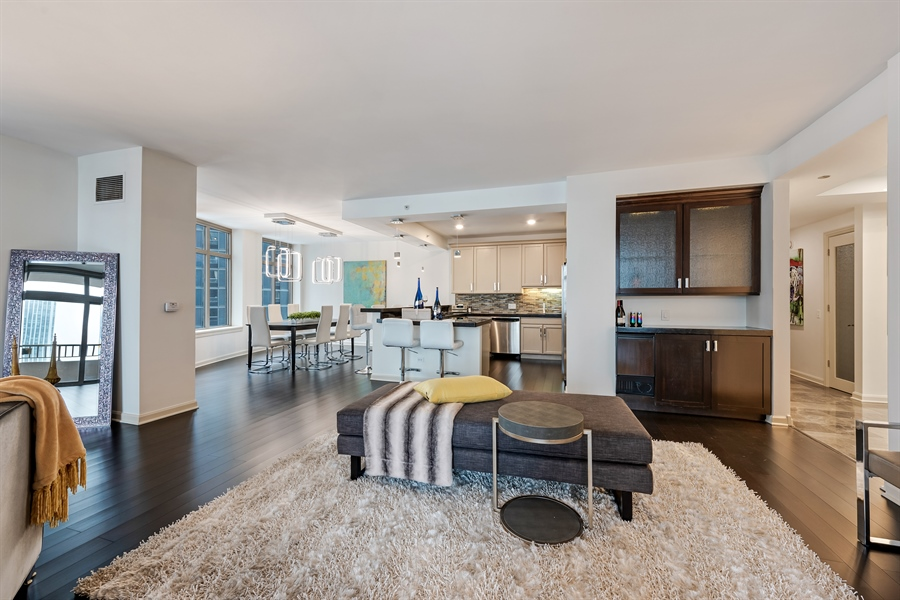 Real Estate Photography - 530 N Lake Shore Drive, Unit 2500, Chicago, IL, 60611 - Kitchen / Living Room