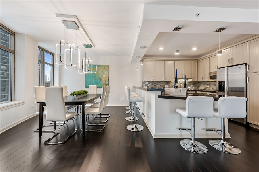 Real Estate Photography - 530 N Lake Shore Drive, Unit 2500, Chicago, IL, 60611 - Kitchen / Dining Room