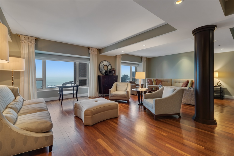 Real Estate Photography - 800 N Michigan Ave, Unit 4801, Chicago, IL, 60611 - Living Room