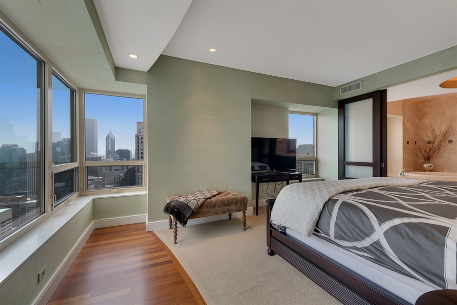 Real Estate Photography - 800 N Michigan Ave, Unit 4801, Chicago, IL, 60611 - Master Bedroom