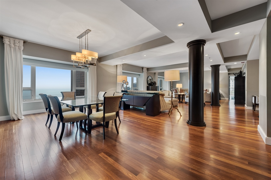 Real Estate Photography - 800 N Michigan Ave, Unit 4801, Chicago, IL, 60611 - Living Room / Dining Room