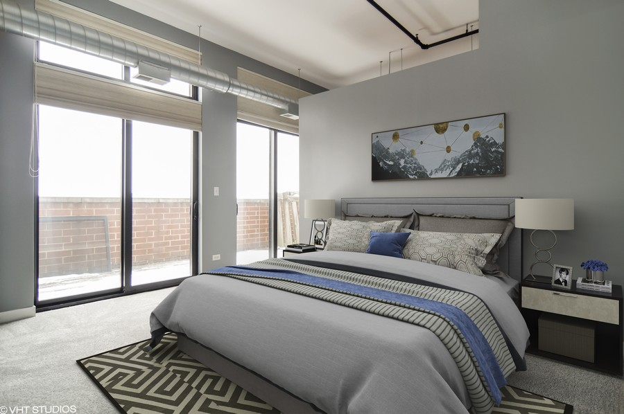 Real Estate Photography - 833 W 15th Pl, Unit 907, Chicago, IL, 60608 - MASTER BEDROOM Connected to Outside Terrace.