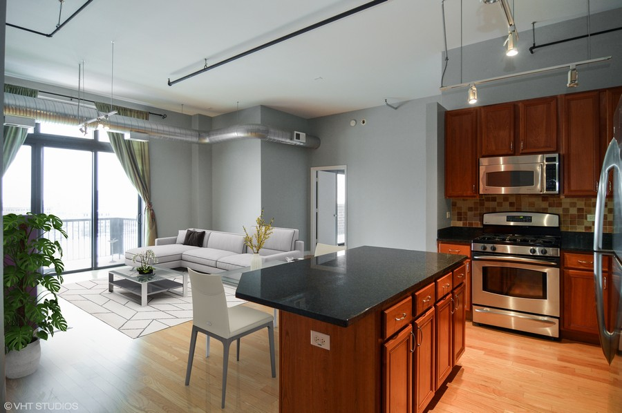 Real Estate Photography - 833 W 15th Pl, Unit 907, Chicago, IL, 60608 - Island Kitchen