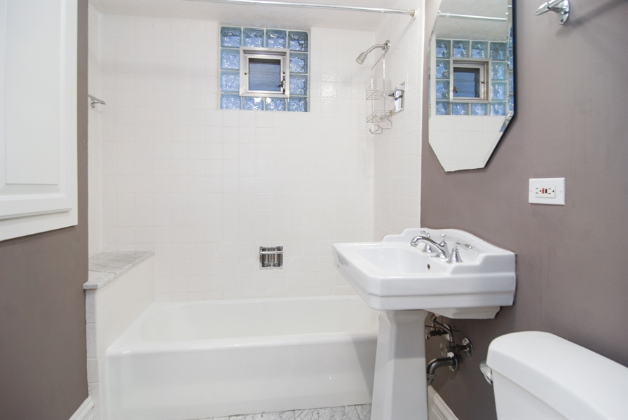 Real Estate Photography - 413 N Marion Ave, Oak Park, IL, 60302 - First Floor Full Bath