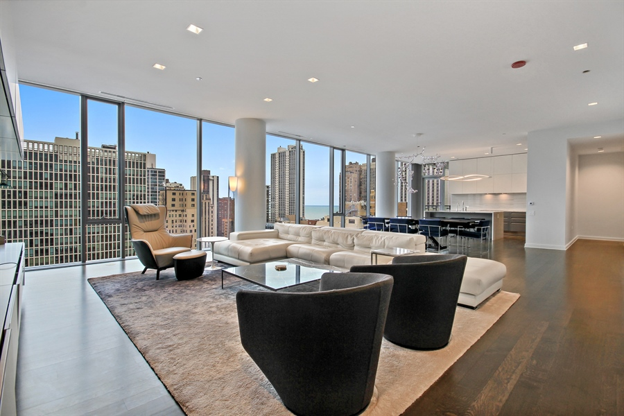 Real Estate Photography - 4 E Elm St, 14N, Chicago, IL, 60611 - Living Room/Dining Room