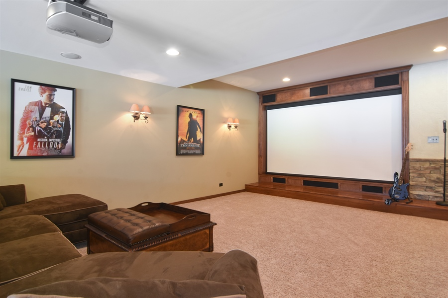 Real Estate Photography - 580 W Ruhl, Palatine, IL, 60074 - Theater Room With Screen Down