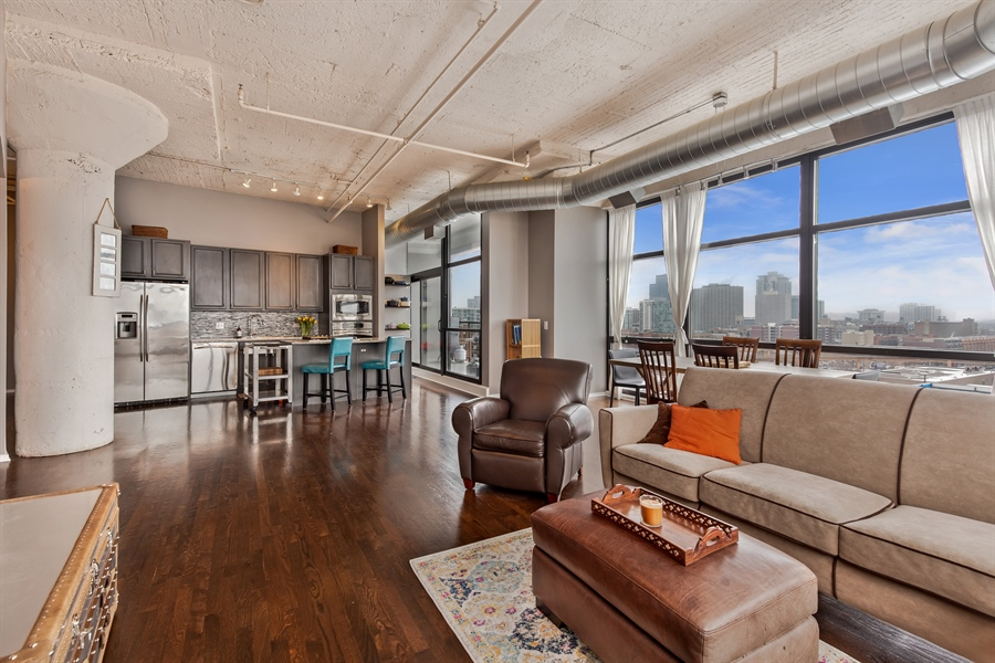 Real Estate Photography - 1530 S State St, Unit 929-930, Chicago, IL, 60605 - Kitchen / Living Room