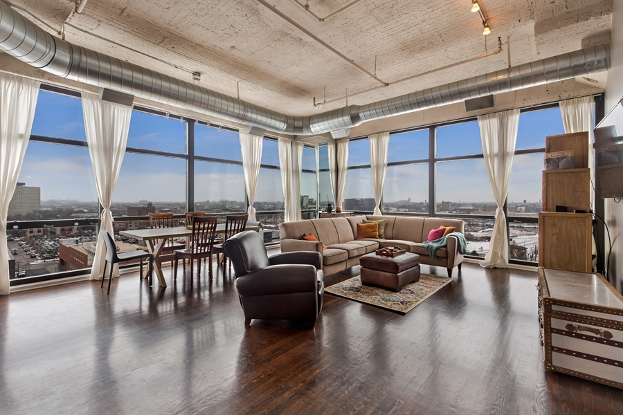 Real Estate Photography - 1530 S State St, Unit 929-930, Chicago, IL, 60605 - Living Room / Dining Room