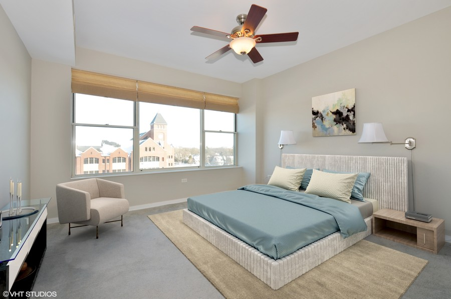 Real Estate Photography - 77 S Evergreen Ave, 503, Arlington Heights, IL, 60005 - Master Bedroom