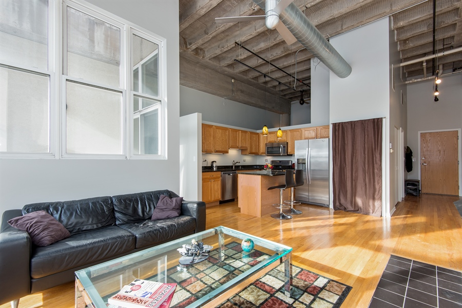 Real Estate Photography - 1834 Ridge, Evanston, IL, 60201 - Kitchen / Living Room