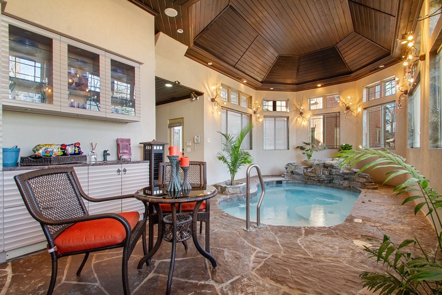 Real Estate Photography - 6455 N Sauganash Ave, Lincolnwood, IL, 60712 - Indoor Spa Pool