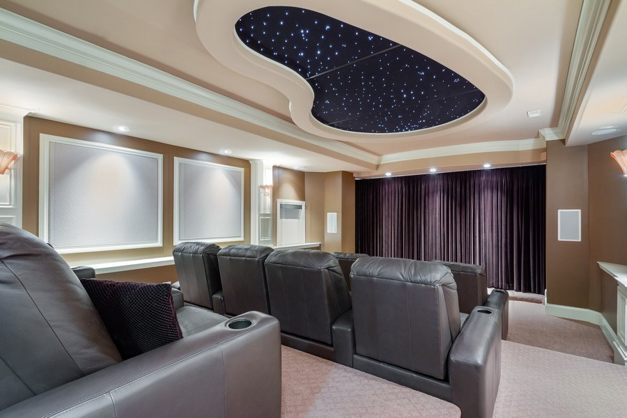 Real Estate Photography - 6455 N Sauganash Ave, Lincolnwood, IL, 60712 - Lower Level Home Theatre