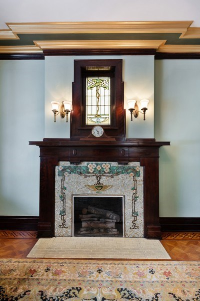 Real Estate Photography - 1021 Forest, Evanston, IL, 60201 - Fireplace in Music Room