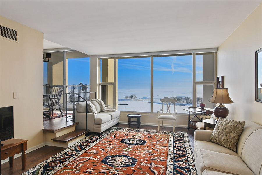 Real Estate Photography - 3200 N. Lake Shore, 1511, Chicago, IL, 60657 - Living Room
